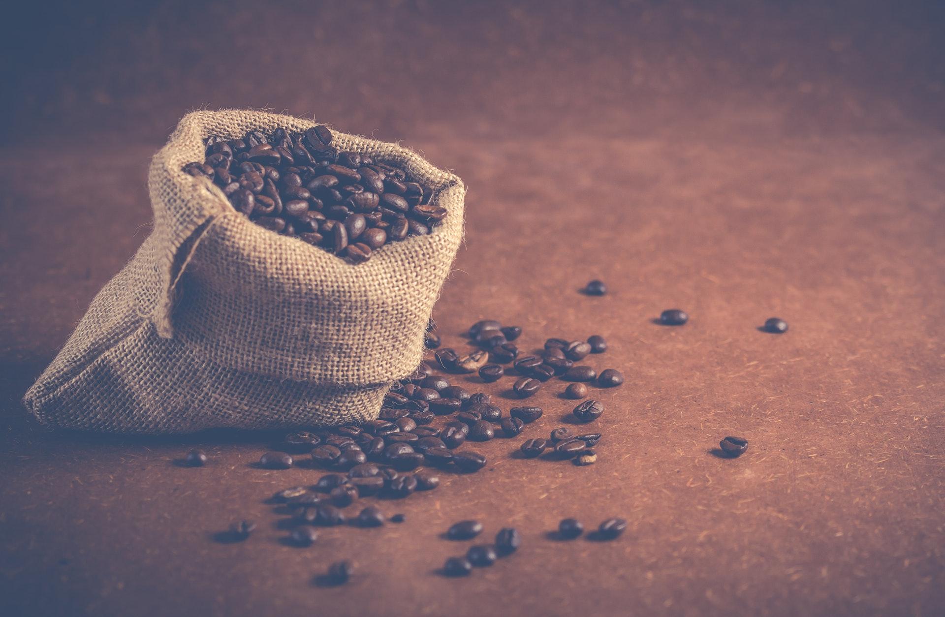 coffee beans in a sac